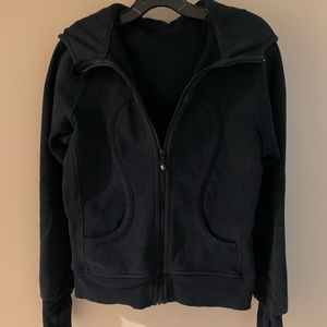 Lululemon Athletica hooded zip black cotton jacket